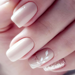 Cute Squared Nail Design Ideas For Stylish Brides and Wedding