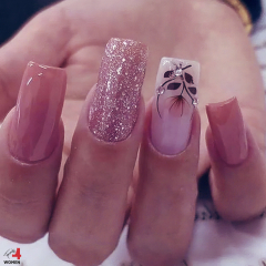 Square Nail Design - Shiny - Glitter - with Gems